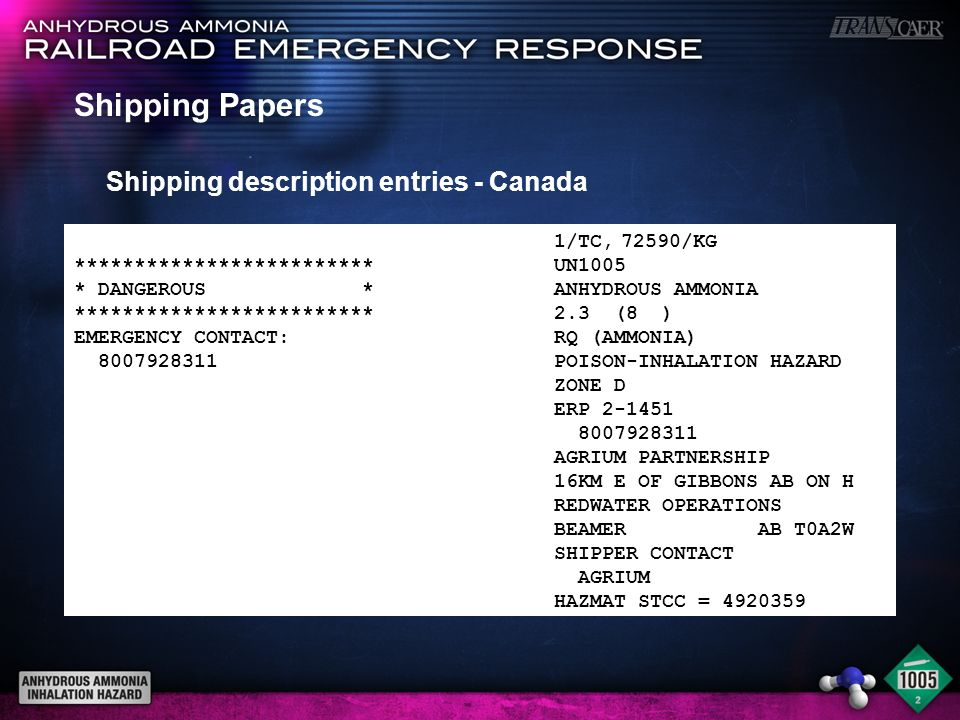 Shipping Papers Shipping description entries - Canada 1/TC, 72590/KG