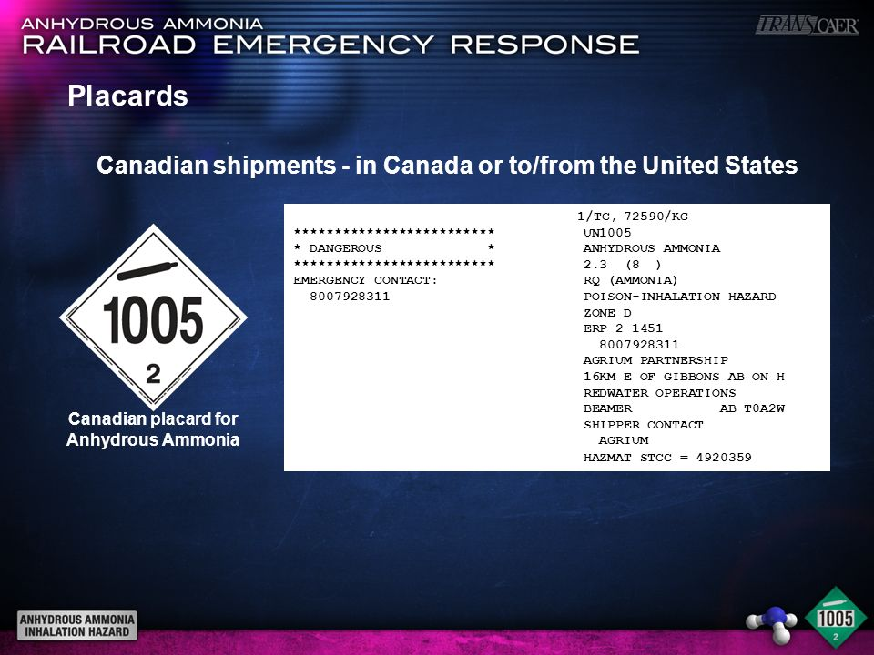 Canadian placard for Anhydrous Ammonia