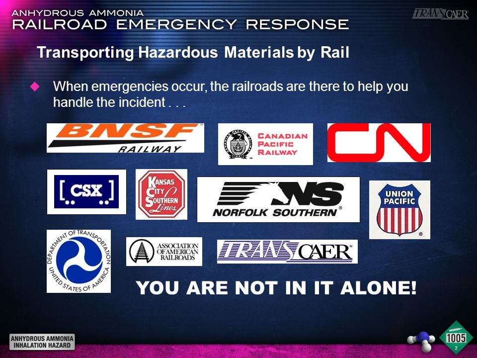 YOU ARE NOT IN IT ALONE! Transporting Hazardous Materials by Rail