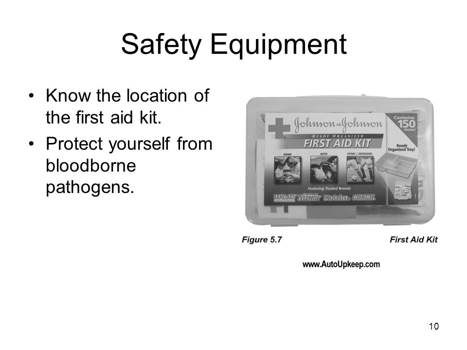 Safety Equipment Know the location of the first aid kit.
