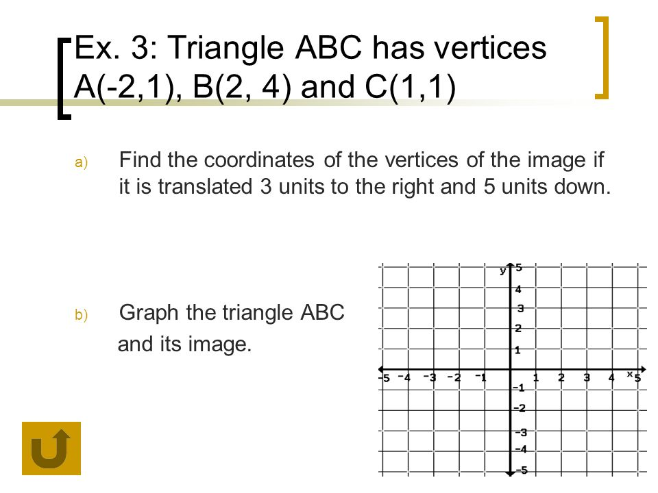 Ex. 3: Triangle ABC has vertices A(-2,1), B(2, 4) and C(1,1)