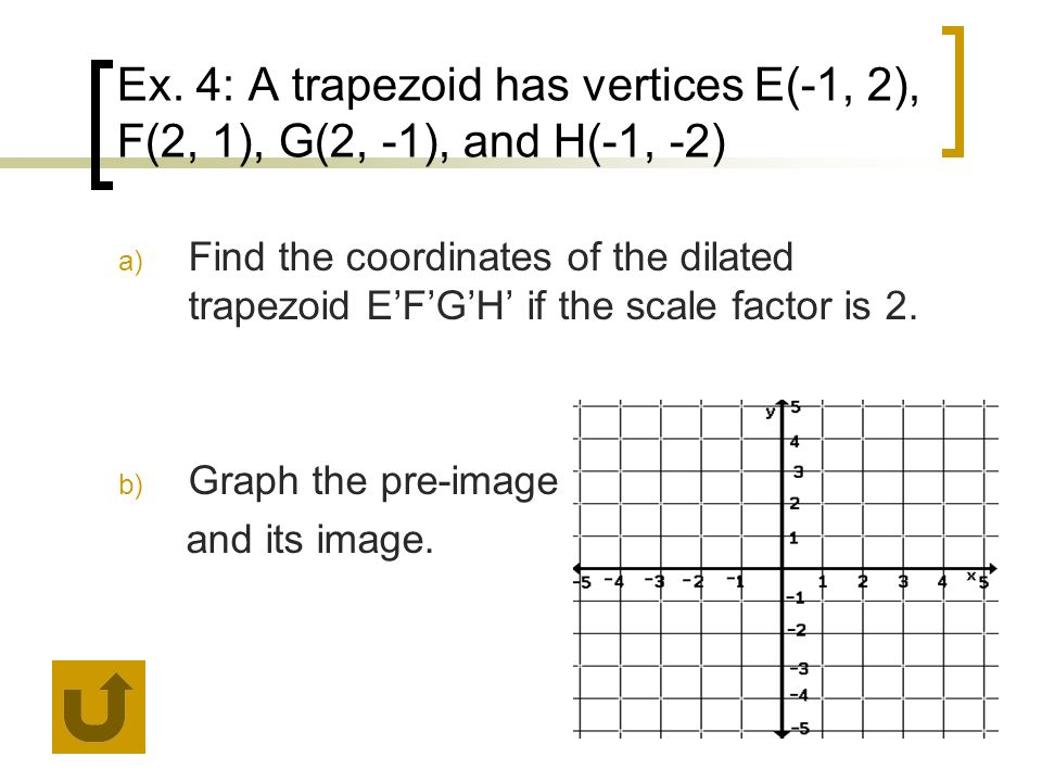 Ex. 4: A trapezoid has vertices E(-1, 2), F(2, 1), G(2, -1), and H(-1, -2)