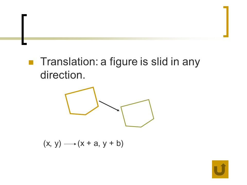Translation: a figure is slid in any direction.