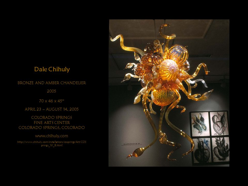 Dale Chihuly BRONZE AND AMBER CHANDELIER x 46 x 45