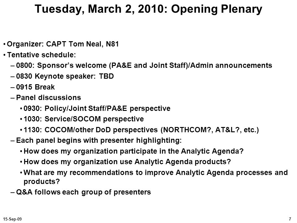 Tuesday, March 2, 2010: Opening Plenary