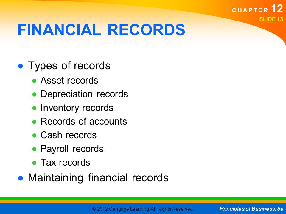 FINANCIAL RECORDS Types of records Maintaining financial records