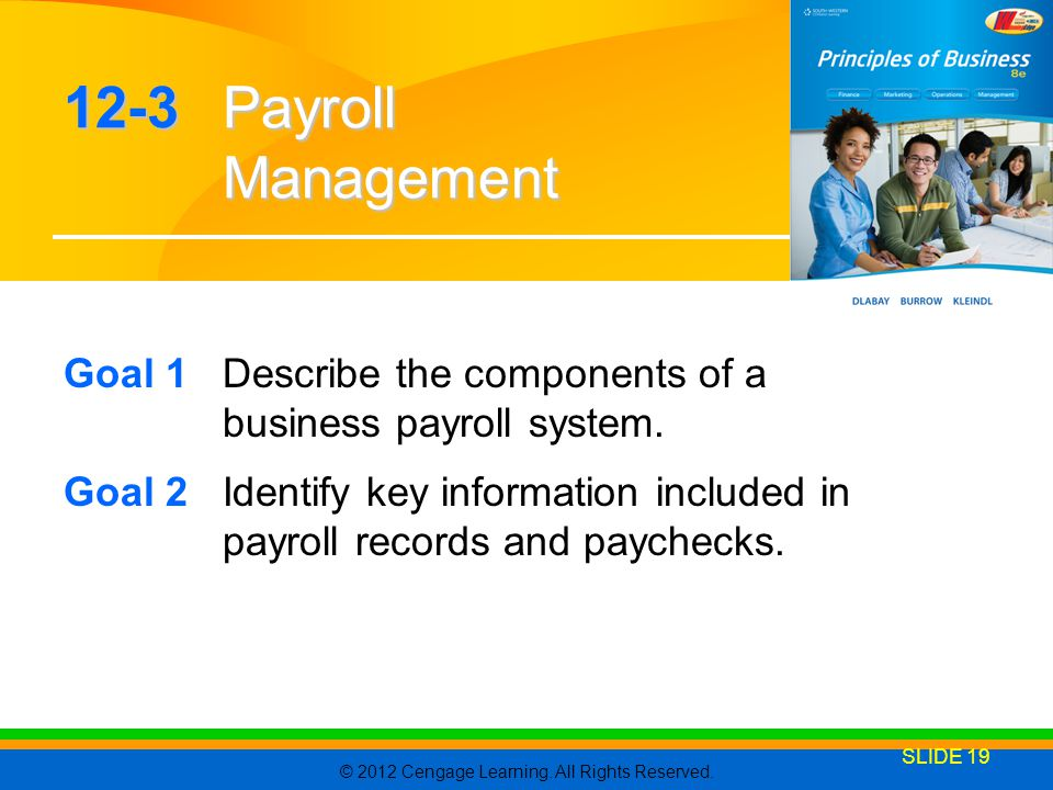 12-3 Payroll Management Goal 1 Describe the components of a business payroll system.
