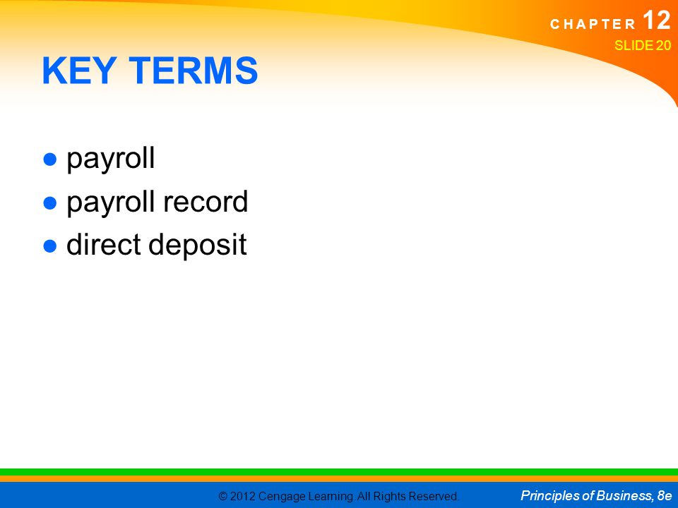 KEY TERMS payroll payroll record direct deposit