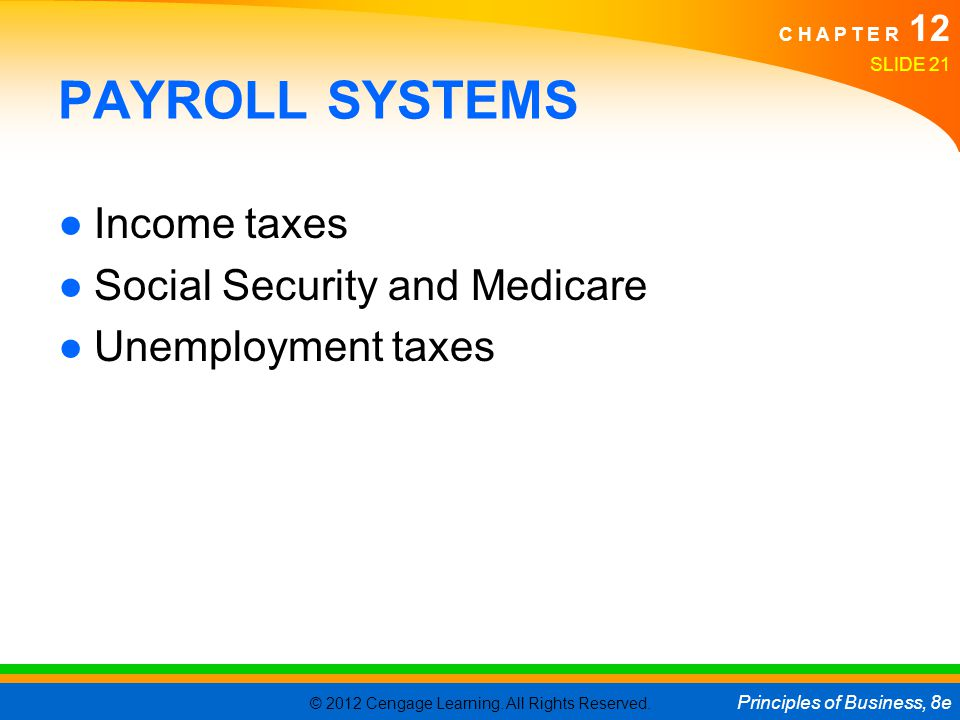 PAYROLL SYSTEMS Income taxes Social Security and Medicare
