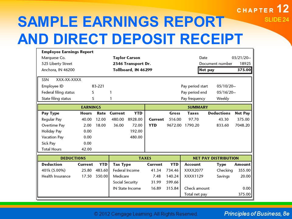 SAMPLE EARNINGS REPORT AND DIRECT DEPOSIT RECEIPT