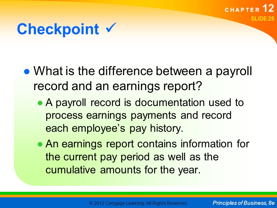 Checkpoint  What is the difference between a payroll record and an earnings report