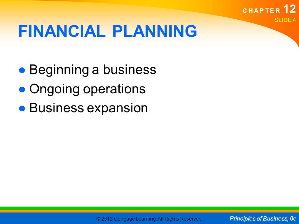 FINANCIAL PLANNING Beginning a business Ongoing operations