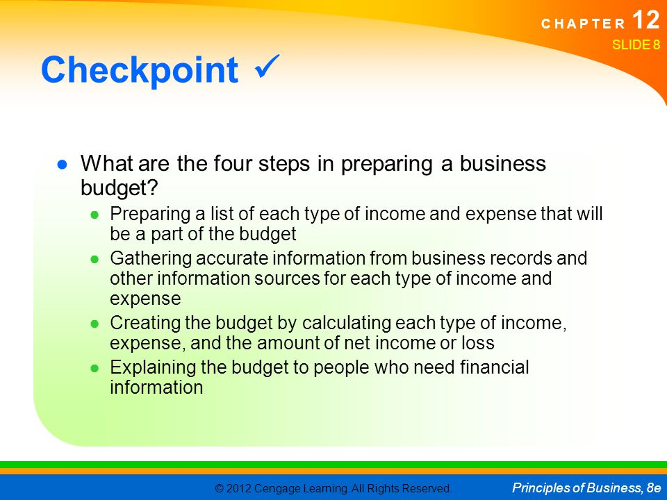 Checkpoint  What are the four steps in preparing a business budget