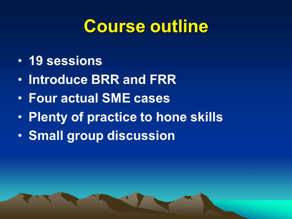 Course outline 19 sessions Introduce BRR and FRR Four actual SME cases