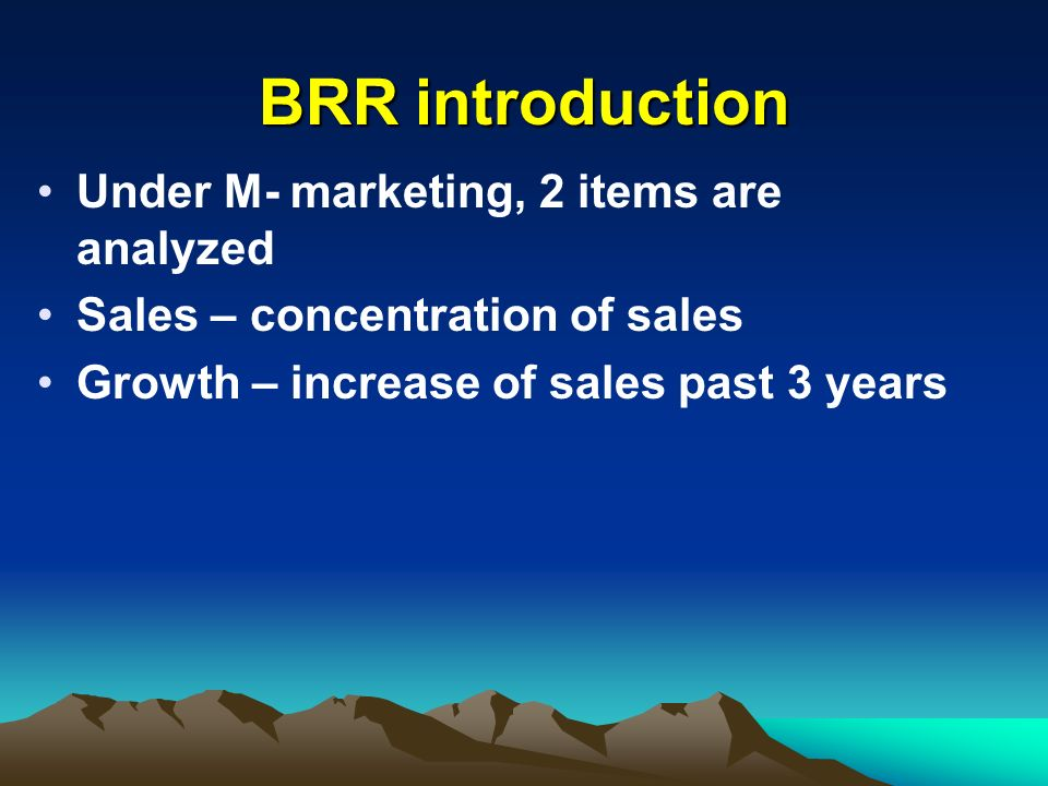 BRR introduction Under M- marketing, 2 items are analyzed