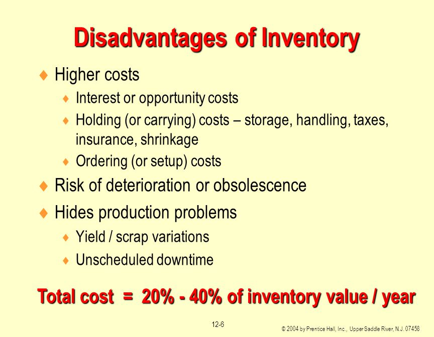 disadvantages of inventory