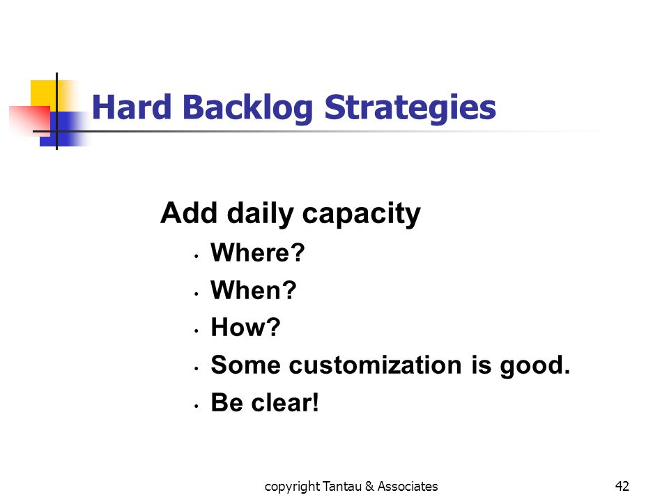 Hard Backlog Strategies