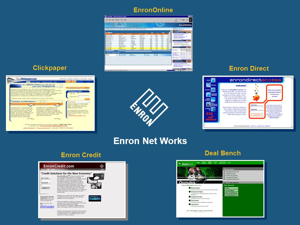 Enron Net Works EnronOnline Clickpaper Enron Direct Deal Bench