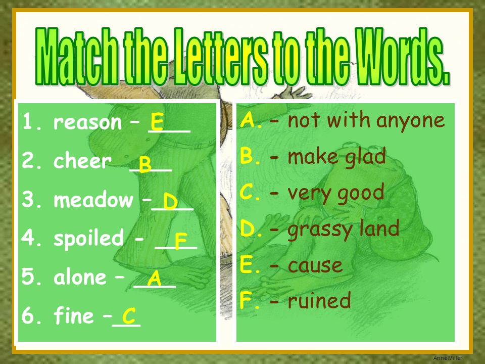 Match the Letters to the Words.
