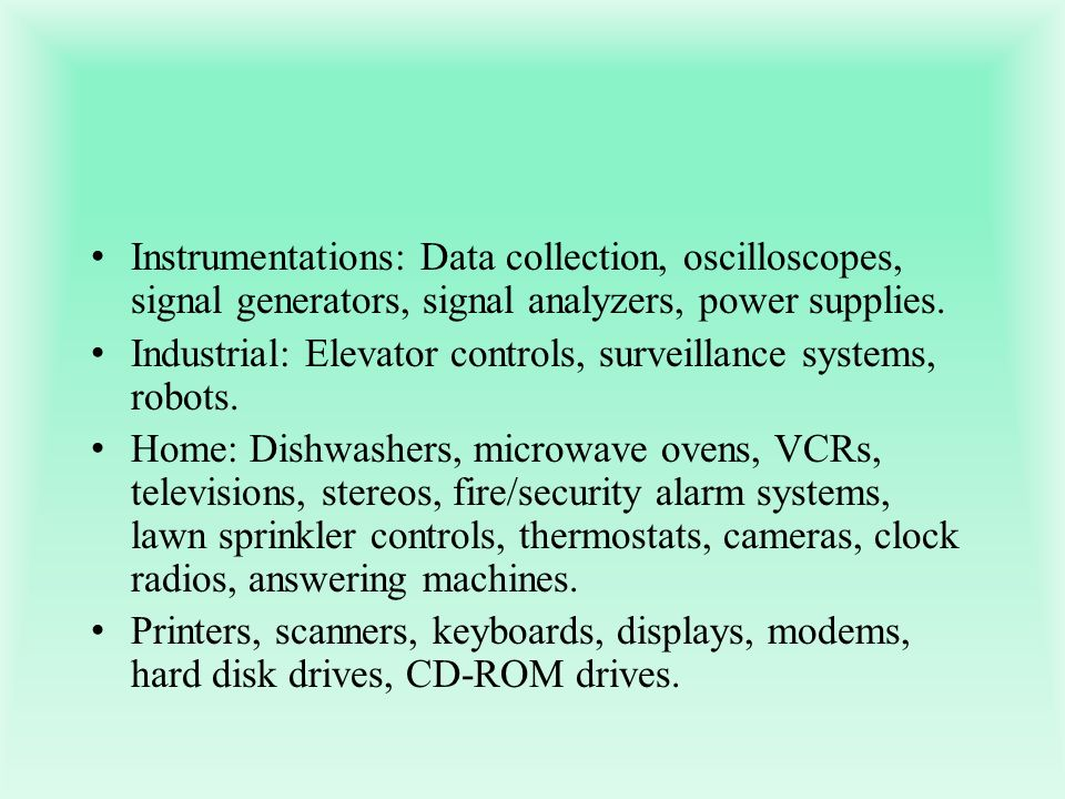 Instrumentations: Data collection, oscilloscopes, signal generators, signal analyzers, power supplies.