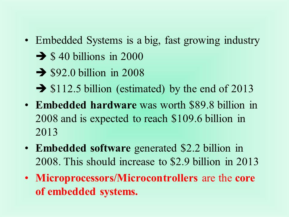 Embedded Systems is a big, fast growing industry