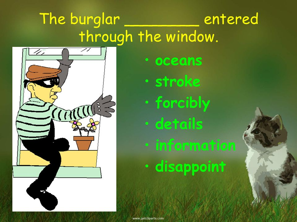 The burglar ________ entered through the window.