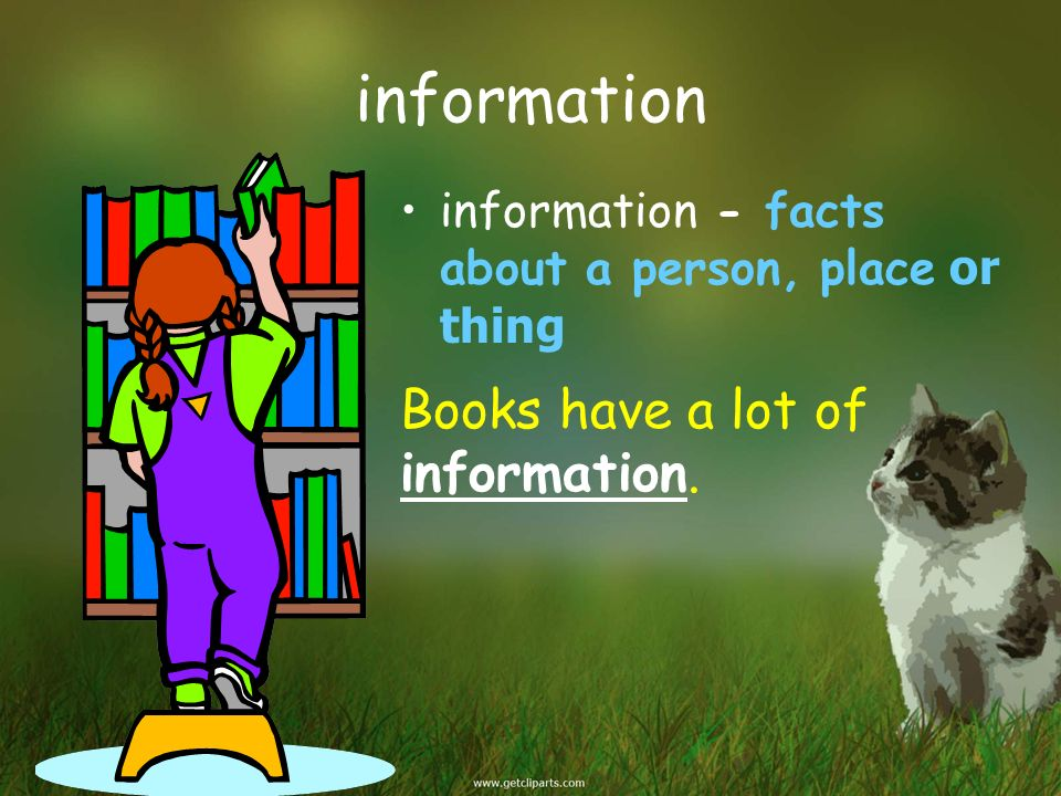 information Books have a lot of information.