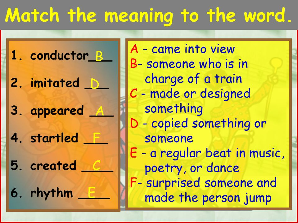 Match the meaning to the word.