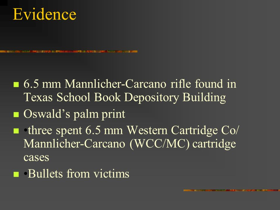 Evidence 6.5 mm Mannlicher-Carcano rifle found in Texas School Book Depository Building. Oswald's palm print.
