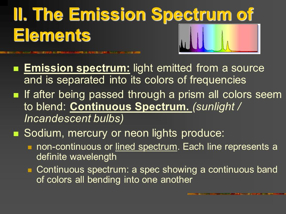 II. The Emission Spectrum of Elements