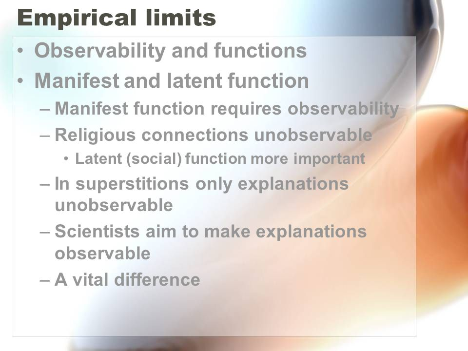 Empirical limits Observability and functions
