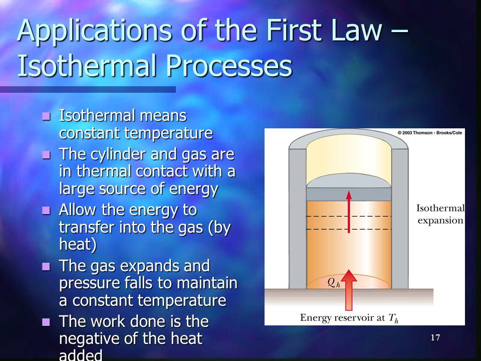 Applications of the First Law – Isothermal Processes