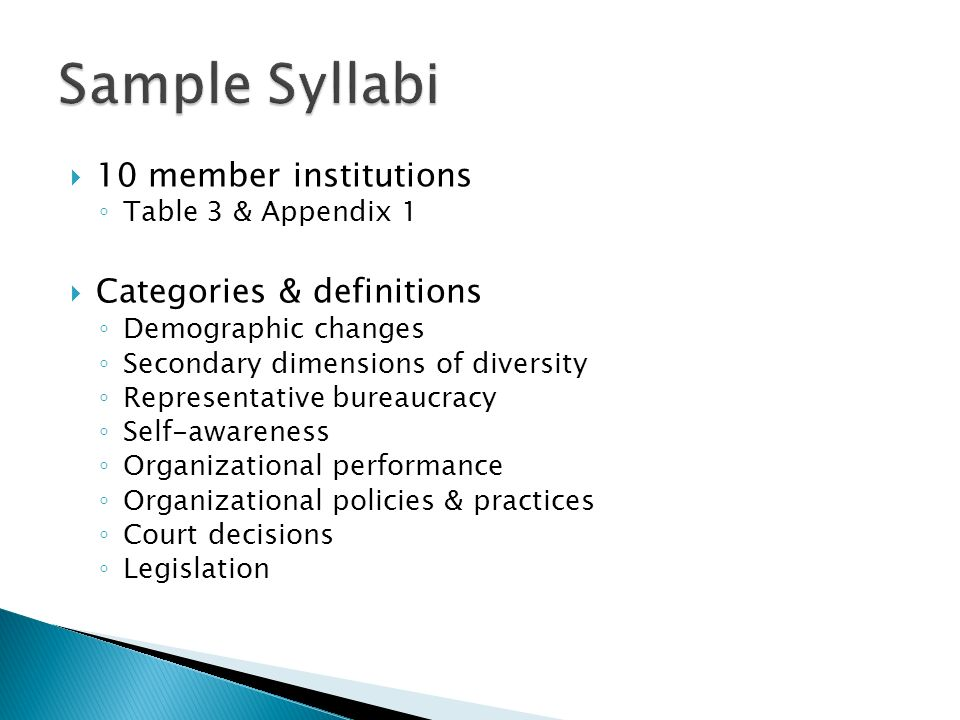 Sample Syllabi 10 member institutions Categories & definitions