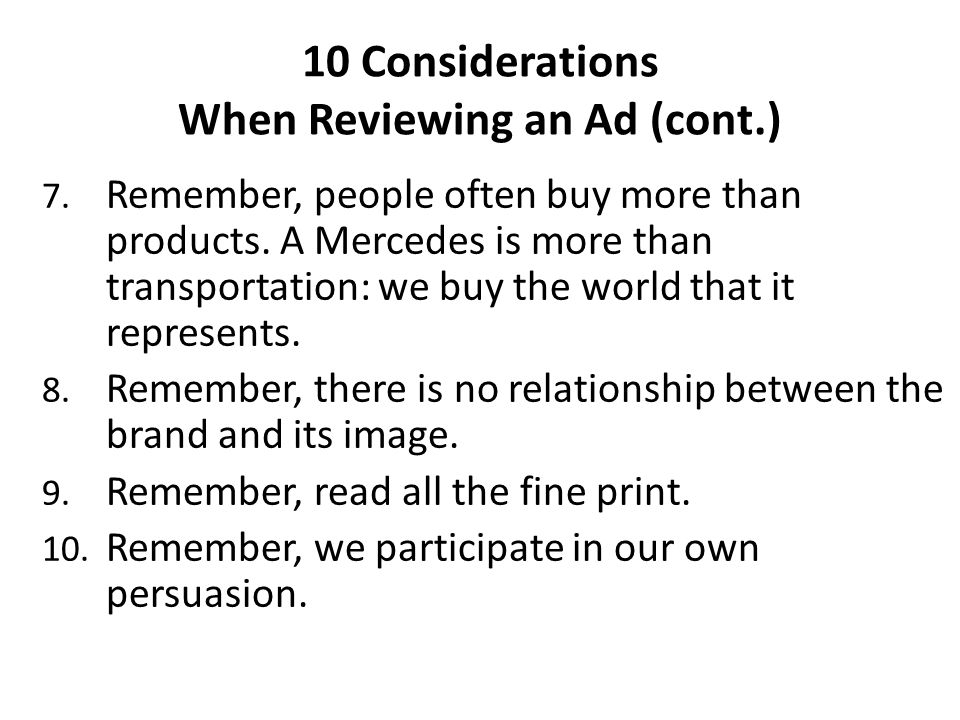 10 Considerations When Reviewing an Ad (cont.)