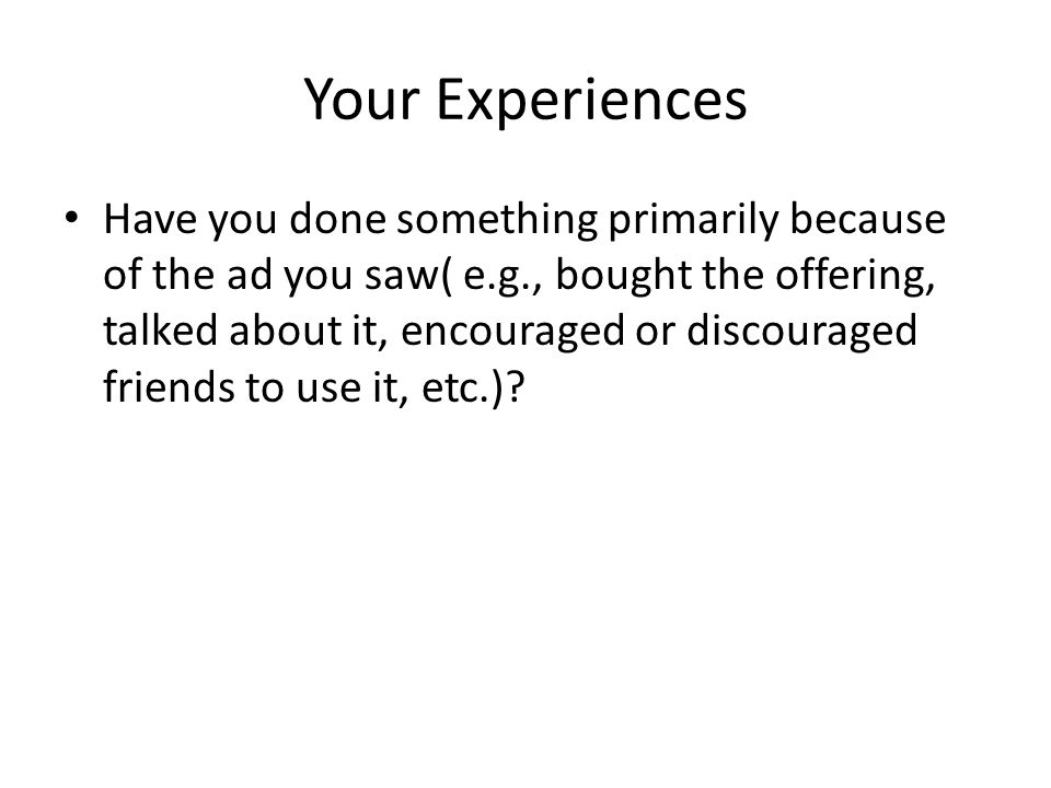 Your Experiences