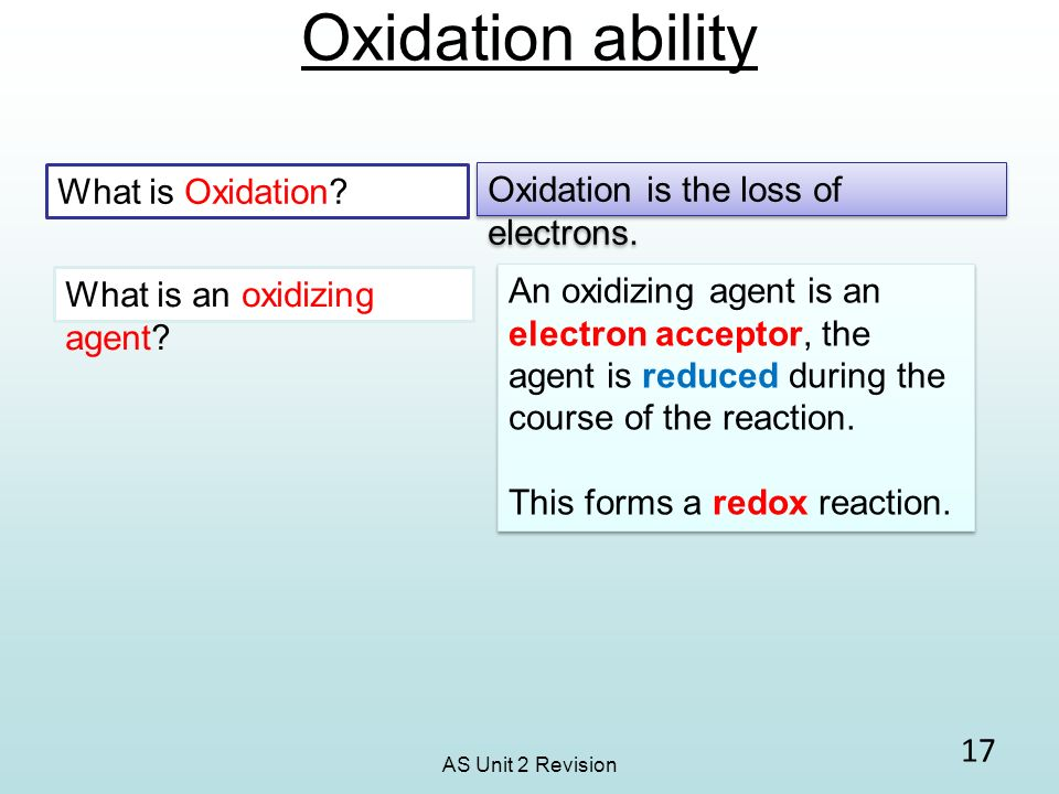 Oxidation ability What is Oxidation