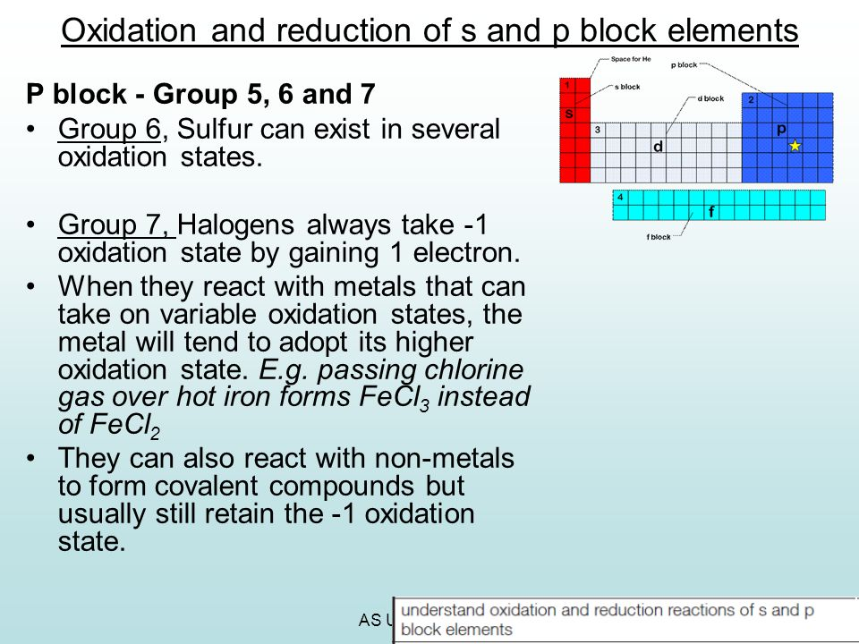 Oxidation and reduction of s and p block elements