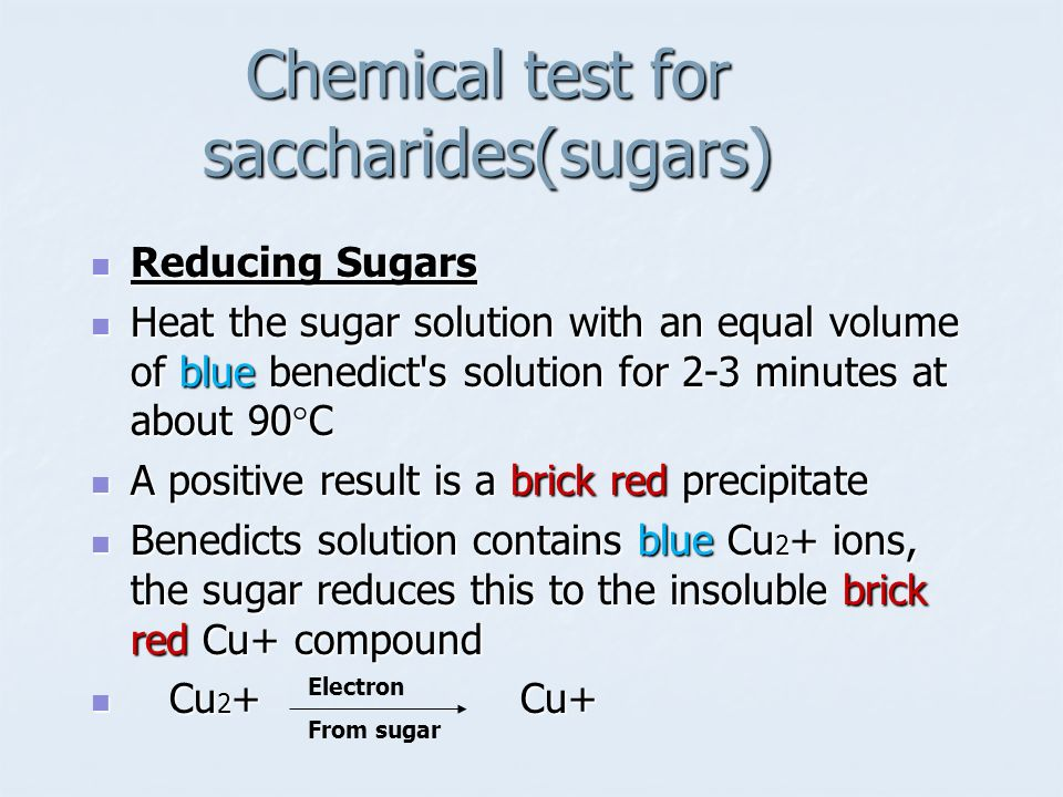 Chemical test for saccharides(sugars)