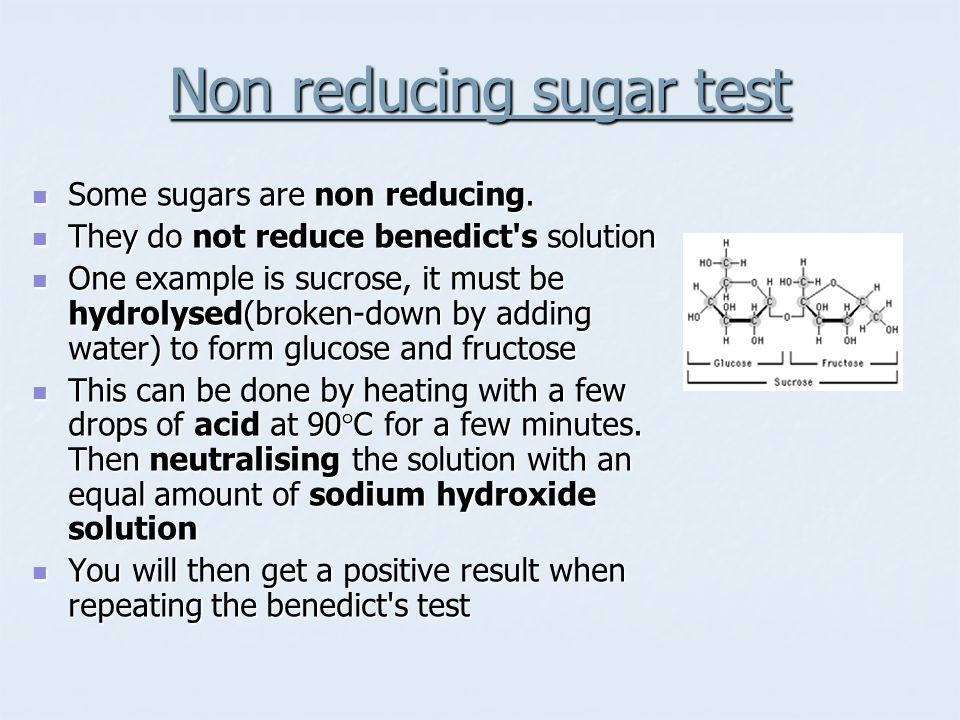 Non reducing sugar test