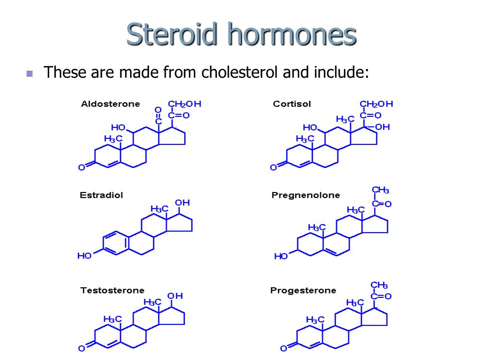 Steroid hormones These are made from cholesterol and include: