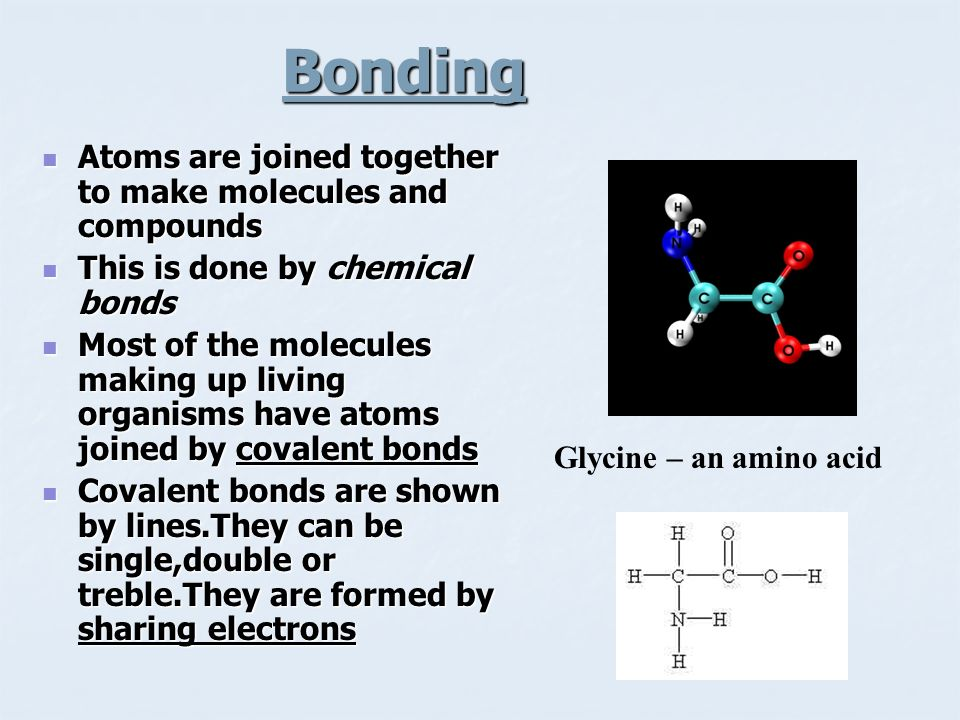 Bonding Atoms are joined together to make molecules and compounds
