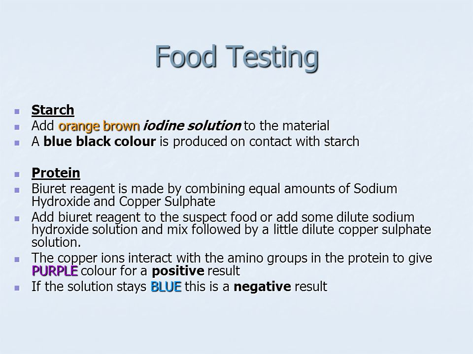 Food Testing Starch Add orange brown iodine solution to the material