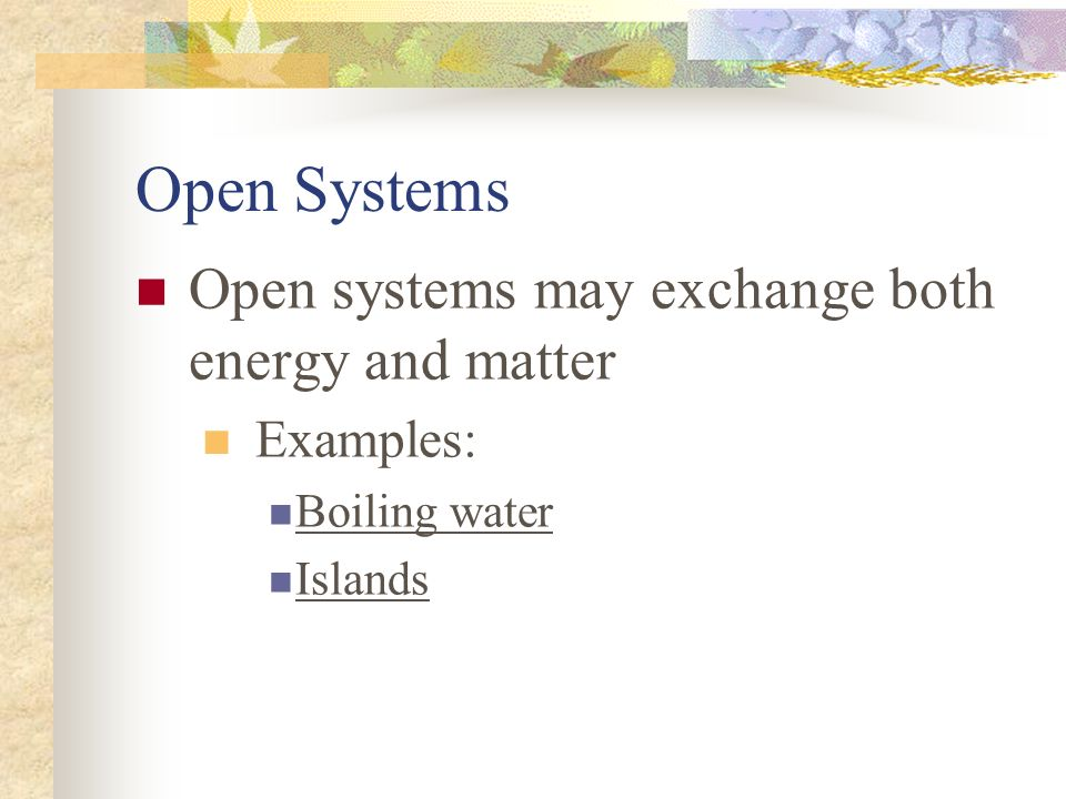 Open Systems Open systems may exchange both energy and matter