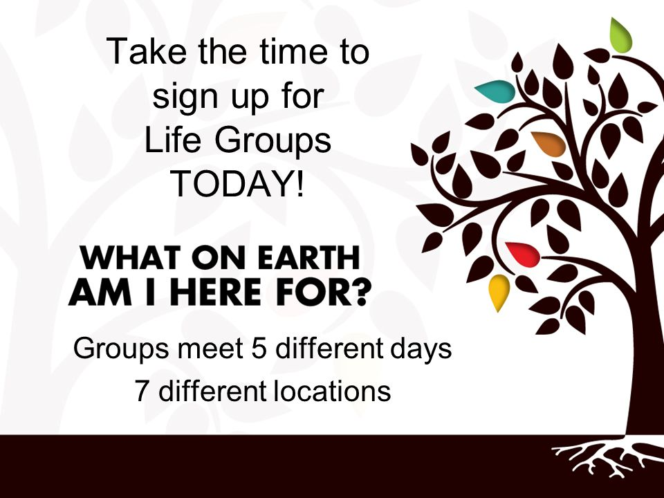 Take the time to sign up for Life Groups TODAY!