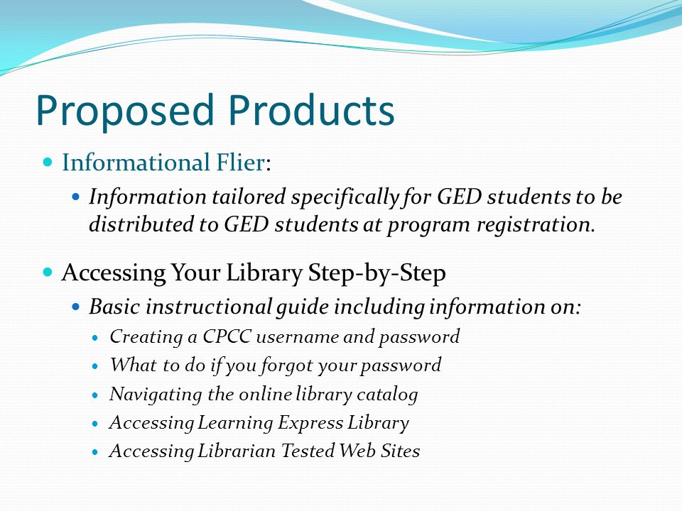 Proposed Products Informational Flier:
