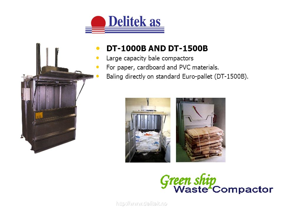 DT-1000B AND DT-1500B Large capacity bale compactors