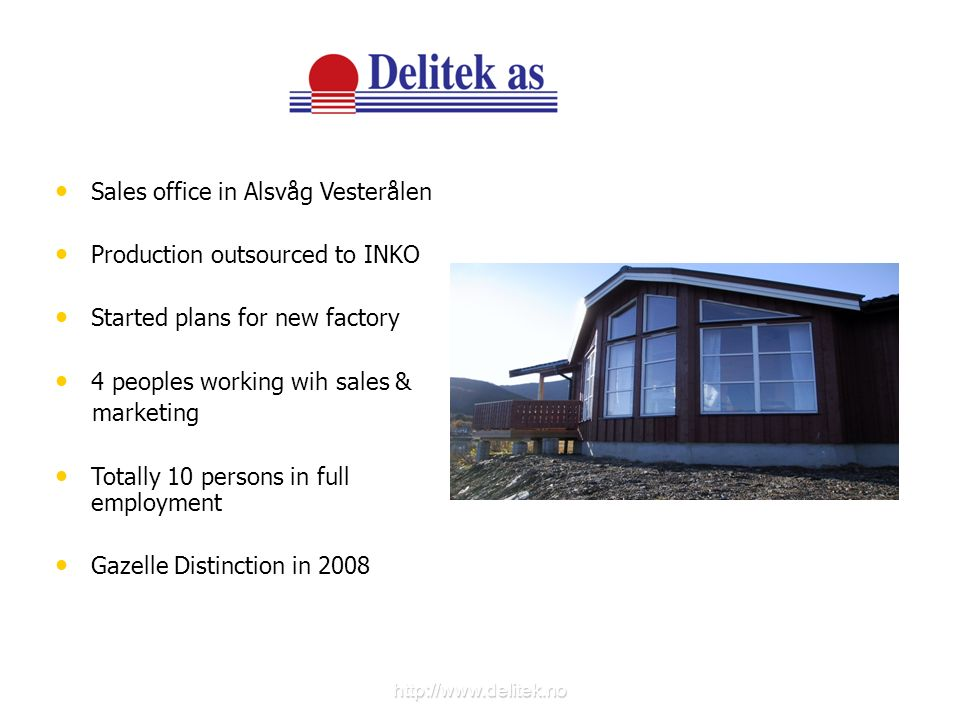 Sales office in Alsvåg Vesterålen Production outsourced to INKO