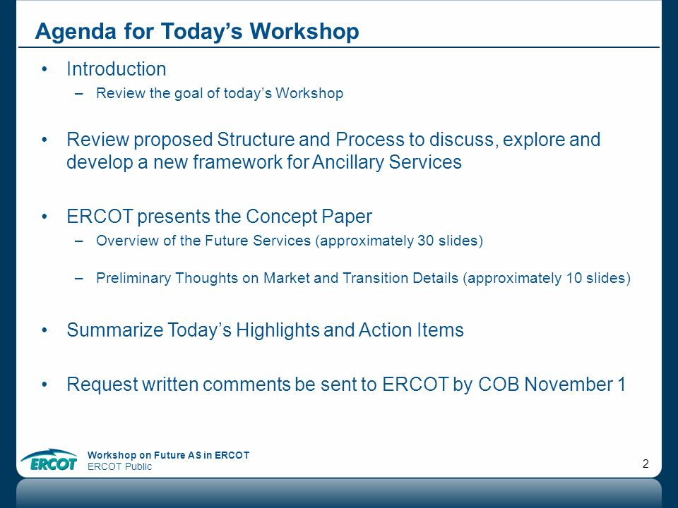 Agenda for Today's Workshop