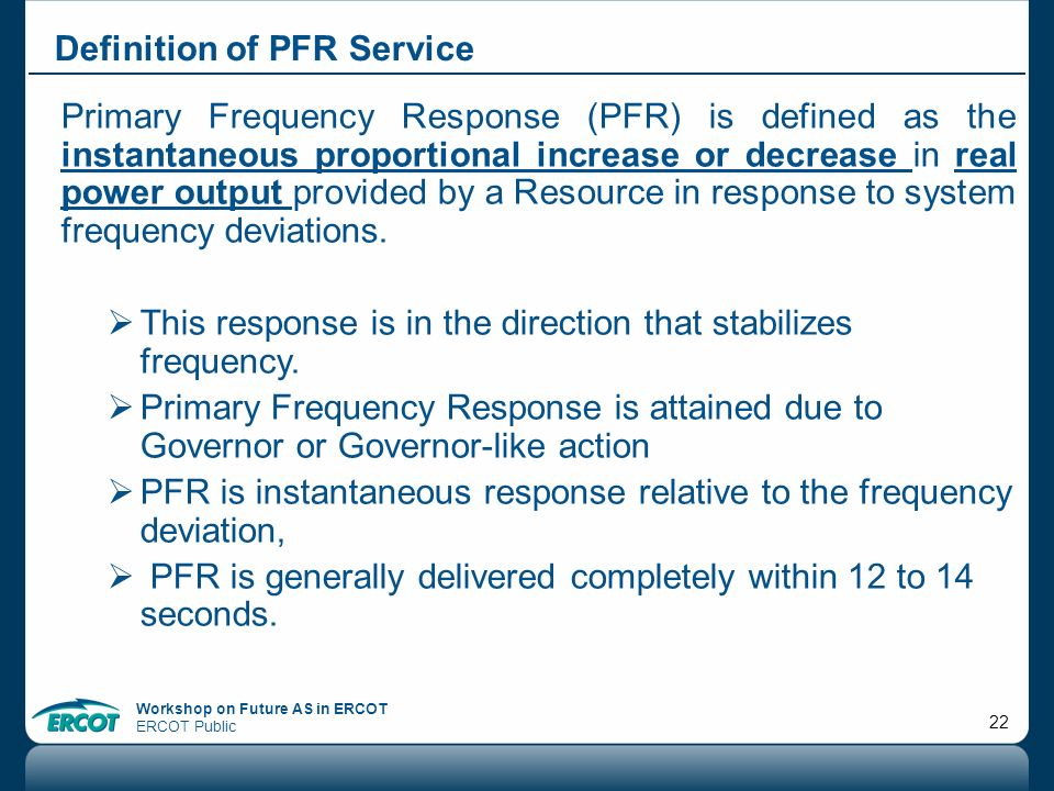 Definition of PFR Service