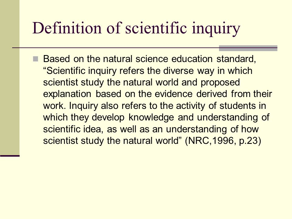 what does scientific inquiry mean